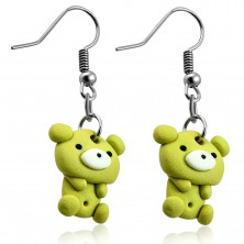 FIMO earrings, light green bear dangling on hooks