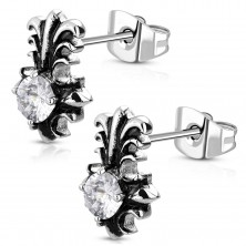316L steel earrings - patine lily cross with round clear zircon