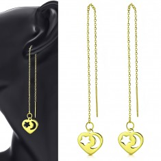 316L steel dangling earrings, gold shade, a thin chain, a heart with cut-outs