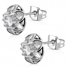 Surgical steel earrings - cut-out flower with clear zircon