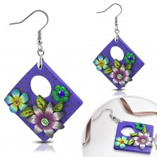 FIMO earrings, dangling purple rhombus with flowers and rounded cut-out