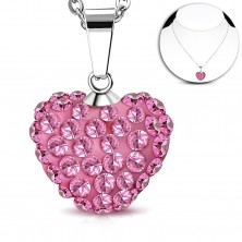 316L steel necklace, a bulging heart inlaid with pink zircons