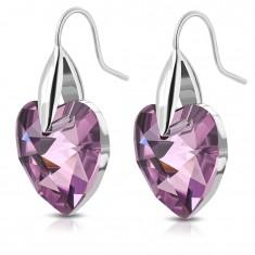 316L steel silver earrings, purple zircon hearts, hooks
