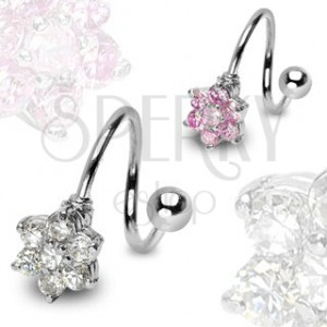 Stainless steel twist with flower