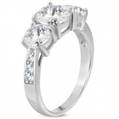 316L engagement ring, three big clear zircons, decorated shoulders