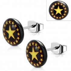 Steel earrings, black circle with yellow-red stars, stud earrings