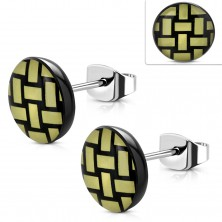316L steel earrings, acrylic circle with yellow-black knit pattern