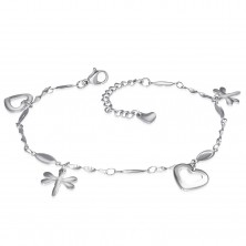 Stainless steel bracelet or anklet in silver colour, pendants - hearts and dragon-flies