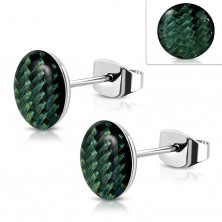 Steel earrings, acrylic circle with dark green string pattern, glaze