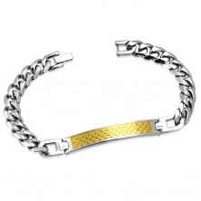 316L steel bracelet with bicolour plate and chessboard pattern