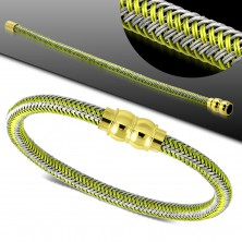 Green-grey bracelet, plaited pattern, golden magnetic clasp