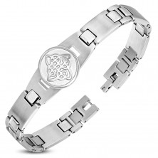 Stainless steel bracelet, shiny and matte links, circle with Celtic knot
