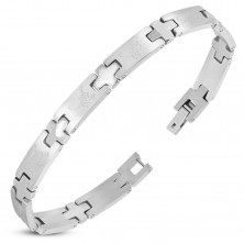 Stainless steel bracelet, shiny rectangles with scorpions, silver colour