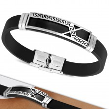Black rubber bracelet, plate with asymmetrical line and Greek key motif
