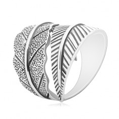 925 silver ring, large opposingly curved leaves, grey patine