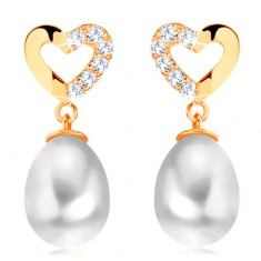 14K yellow gold diamond earrings - heart contour with brilliants, oval pearl