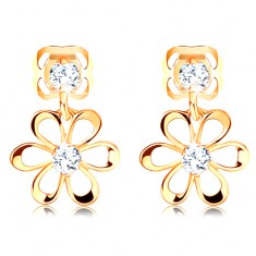 14K yellow gold diamond earrings - flower with rounded petals, clear brilliants