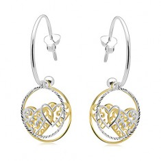 925 silver earrings, incomplete circle, bands with hearts, two-coloured