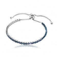 Stainless steel bracelet, dark-blue circular zircon line