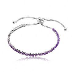 Stainless steel bracelet, purple circular zircons
