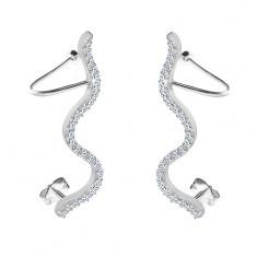 925 silver earrings - clear zircon snake, studs and hooks