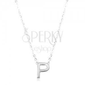 925 silver necklace large block letter p shiny chain