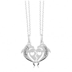 a4822596ba 925 silver necklace - halved heart of two dolphines, Friends Forever