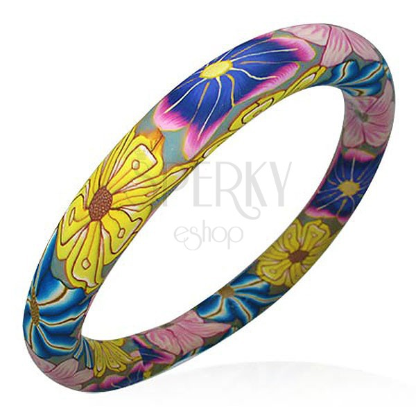 Bracelet Fimo - colours of Hippies flowers