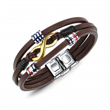 Brown leather bracelet, three thin stripes, symbol INFINITY in gold colour, rolls