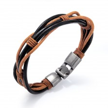 Brown-black bracelet of thin synthetic leather stripes and strings