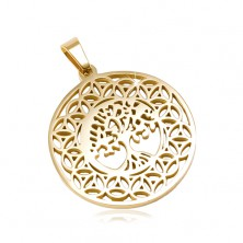 Circular 316L steel pendant in golden colour, the tree of life, ornaments