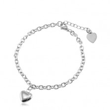 Stainless steel bracelet with oval rings, two hearts, silver colour