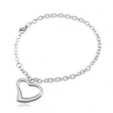 Steel bracelet in silver colour, oval rings, heart contour