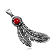 Steel patinated pendant, circular red stone and Indian feathers