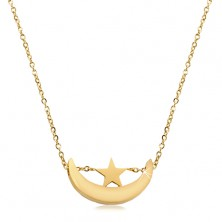 Necklace in golden shade, stainless steel, shiny moon crescent and star
