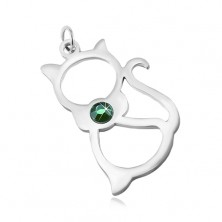 Stainless steel pendant in silver shade, cat contour, green zircon