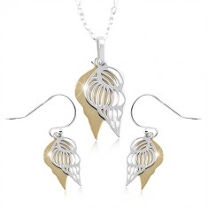925 silver set, double shell in silver and gold shade
