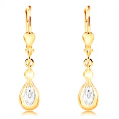 14K gold earrings - shiny drop, ground white gold rhombus