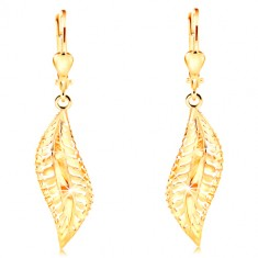 Earrings made of yellow 585 gold - big curved leaf with decorative indents