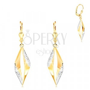 585 gold earrings - curved grain contour with tiny flowers of white gold
