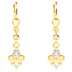 14K gold earrings - two-coloured Fleur de Lis symbol, clear zircons