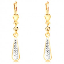 Dangling 14K gold earrings - thin drop with indents and white gold