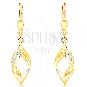 585 gold earrings - wider two-coloured waves decorated with indents