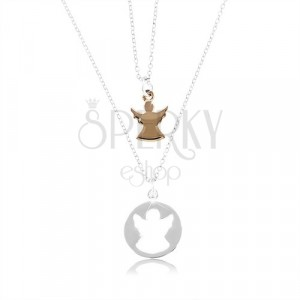 Two 925 silver necklaces - circle with angel-shaped cut and angel in copper colour