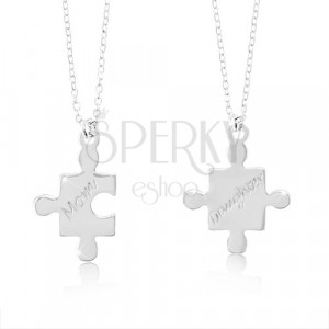 925 silver necklaces - puzzle pieces with inscriptions Mom and Daughter