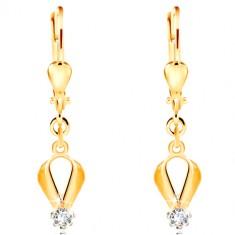 585 gold earrings - drop contour, circular clear zircon in a mount