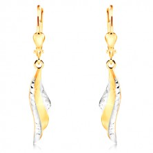 14K gold earrings - angel wing with tiny indents and white gold