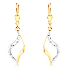 14K gold earrings - curved grain contour, two-colour finish