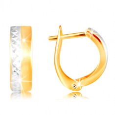 14K gold earrings - smooth matte stripe in yellow colour, refined line of white gold