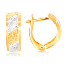 585 gold earrings - sparkling gritted stripes in yellow and white gold